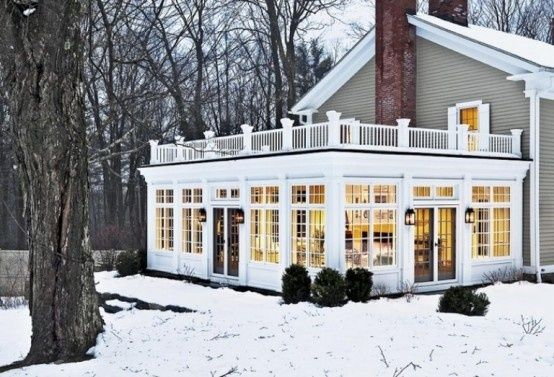 Enclosed Porch And Balcony On Top Of It With Images Sunroom Designs Old Farm Houses House Exterior