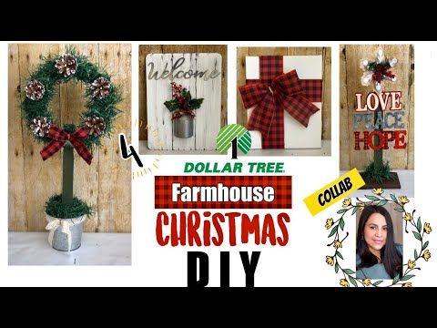 4 Dollar Tree Christmas Diys Farmhouse Home Decor Youtube Dollar Tree Christmas Christmas Diy Dollar Store Christmas Crafts