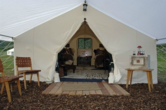Glamping tent and canvas tent on pinterest for Glamping ideas diy