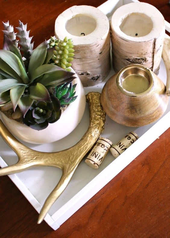 Coffee Table Styling: 3 Ways | Rustic Chic coffee table styled w/ succulent plants & antlers