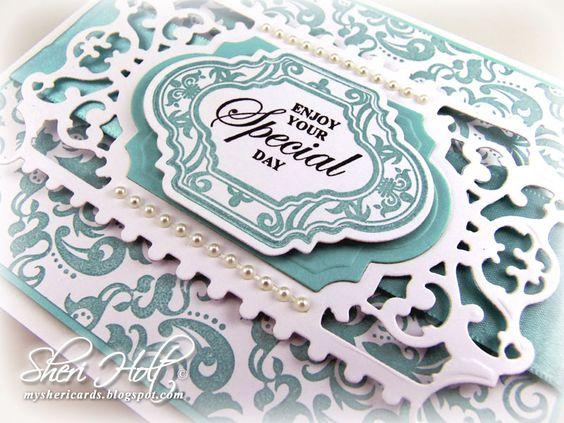 Close up of Sheri Holt Card.  Using Damask Wallpaper Background Stamp and Grateful Heart Stamps