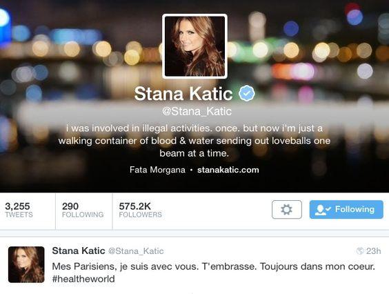 Stana tweet to Paris