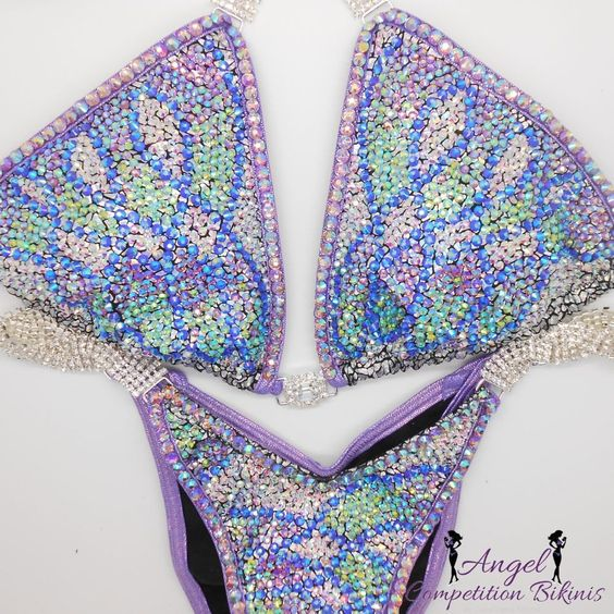 Twisted sapphire ab, peridot ab, light amethyst ab, and crystal ab. Hologram silver with hologram lilac fabric trim. Light amethyst ab crystal trim