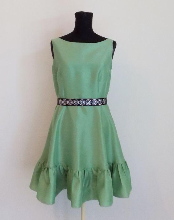 Abito verde con balza arricciata damigella d'onore,vestito festa , vestito da…