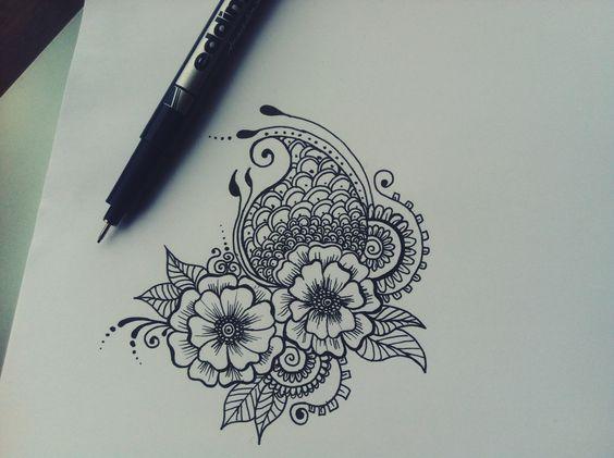 Mehndi Flower Drawing : Henna drawing wedding invitation doodle art pinterest