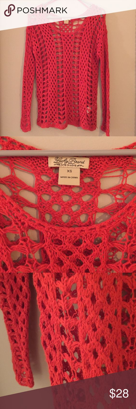 Lucky Brand Sweater Bright red Lucky Brand sweater with netted style. There a few loose threads, 2 of which are pictured. There are a few more on the sweater. I'm happy to post more pics if needed. Lucky Brand Sweaters