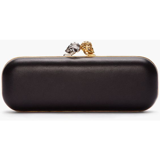 ALEXANDER MCQUEEN Black Two-Tone Twin Skull Clutch ($1,545) ❤ liked on Polyvore