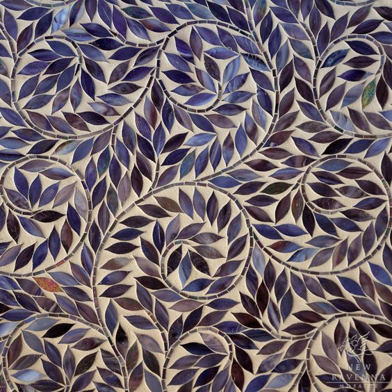 Jacqueline Vine waterjet mosaic field shown in Amethyst Jewel glass. OMG can  I PLEASE have this in my house somewhere, anywhere!