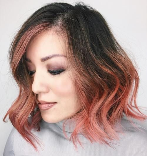 Brunette And Rose Gold Balayage Bob Those edges might be more edgy than I can manage