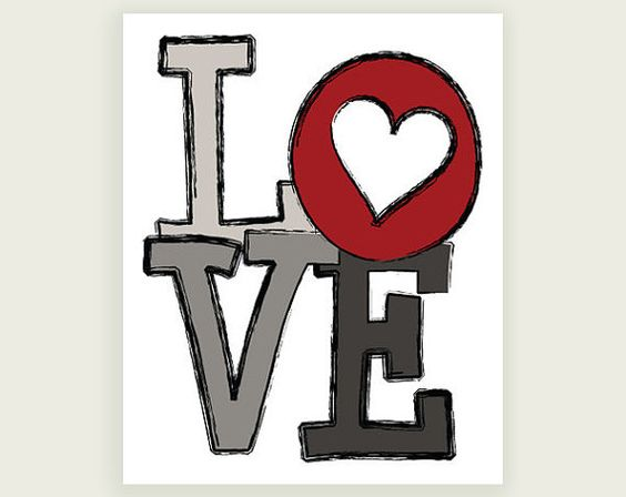 Love Heart  Red Gray Black Art Digital Illustration by colorbee, $17.00
