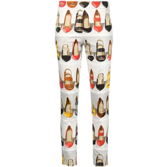 Moschino high heel printed trousers (£730) ❤ liked on Polyvore featuring pants, capris, trousers, white, side zipper pants, moschino, moschino pants, multi color pants en white slim pants