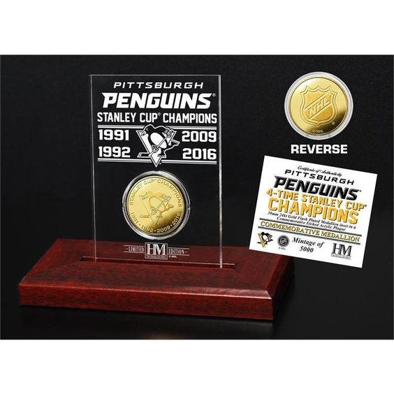 "Highland Mint Pittsburgh Penguins ""4-time Stanley Cup Champions"" Gold Coin Etched Acrylic"