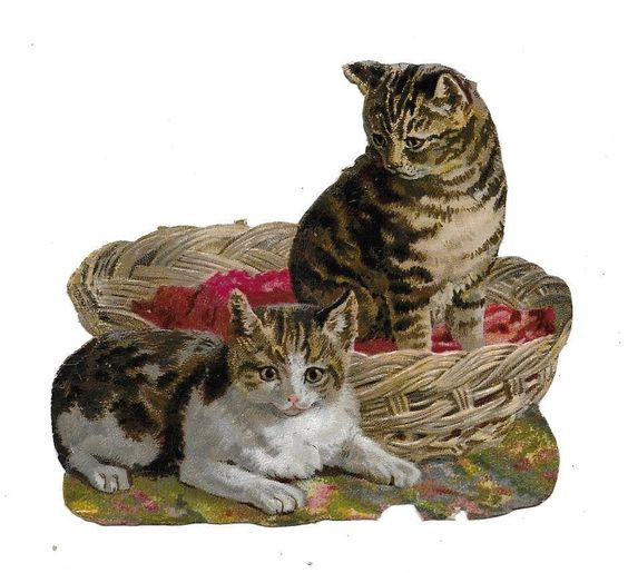 Antique Victorian Die Cut 2 Cats one Basket.  ca. 1880s: