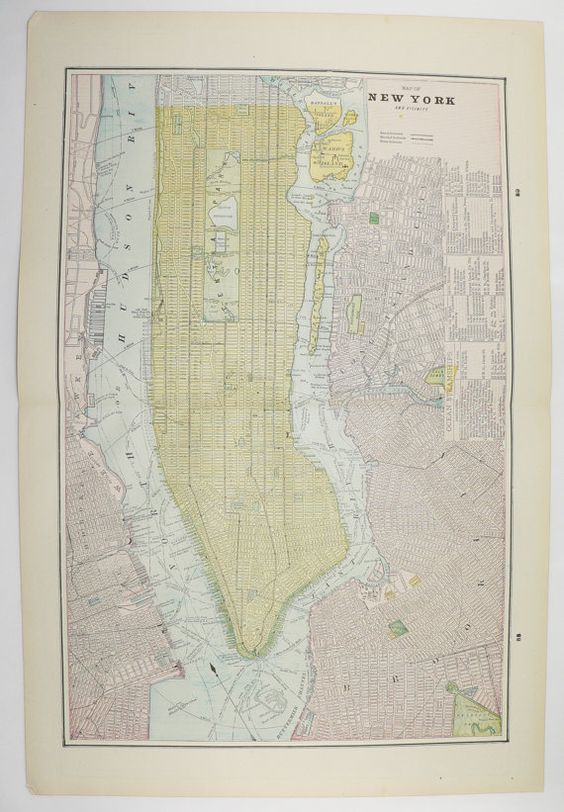 1894 New York City Map NY NYC Map Brooklyn Boston Map Manhattan – Street Map Nyc