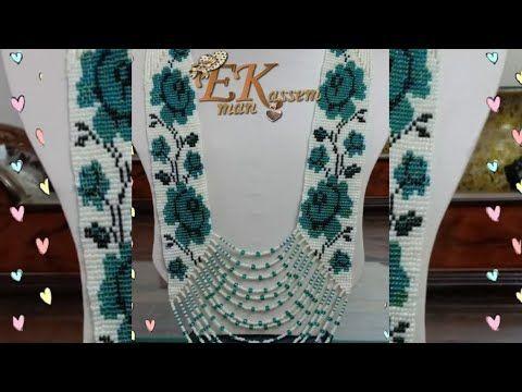 1 عقد كوليه الورد على النول الجزء الاول مرمه العقيق Beads Loom Necklace Youtube