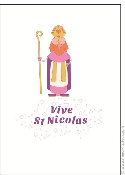 #Carte #SaintNicolas #stNicolas Carte Vive St Nicolas sur fond blanc pour envoyer par La Poste, sur Merci-Facteur !