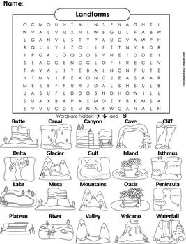 Worksheets Landforms And Bodies Of Water Worksheets landforms and bodies of water word search geology unit words coloring worksheet