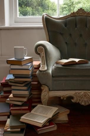 Don't come between a girl, her tea, and her stack of books. It just isn't done, not by civilized people.