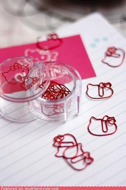 Hello Kitty Paperclips. Why don't I own these already?