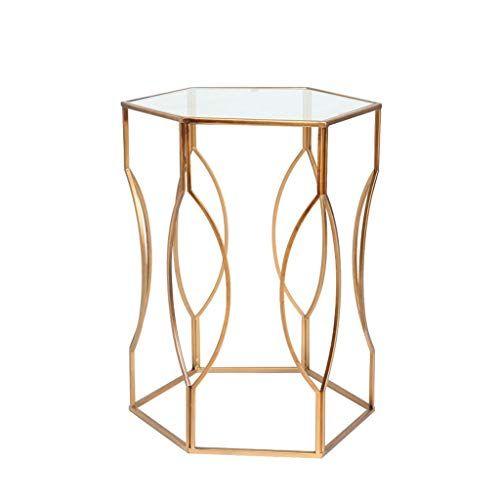 Hongyan Side Table Metal Glass Coffee Table Living Room Sofa Round