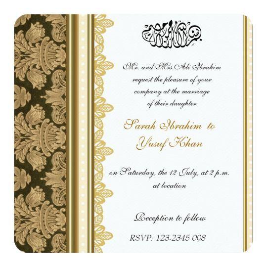 Gold Damask Brocade Muslim Wedding Invitation Zazzle Com Muslim Wedding Invitations Pakistani Wedding Invitations Pakistani Wedding Cards