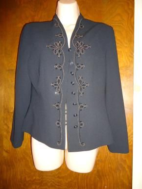 This is a new dress jacket  size 8 p beautiful Black  If you want to dress in style  this is your jacket  Free Shipping Check out my other items here  http://yardsellr.com/yardsale/Marla-Jones-198554