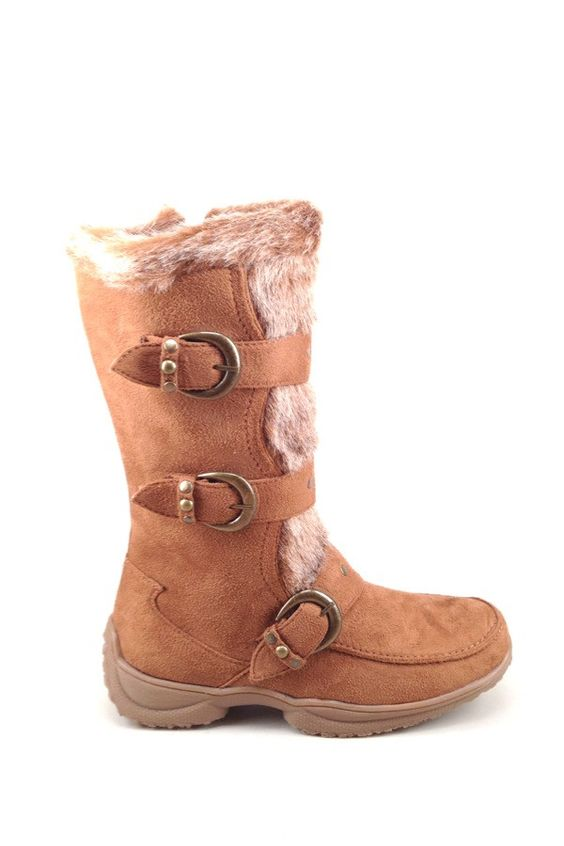 Tan Suede Boot with Faux Fur and Buckle Designs