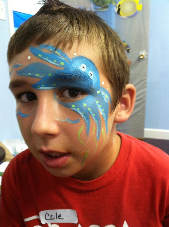 Attempt at face painting an octopus.