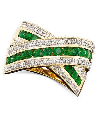 14k Gold Emerald (3/4 ct. t.w.) & Diamond (1/4 ct. t.w.) B& Ring