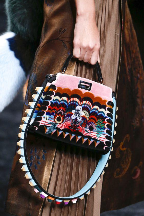 Fendi Fall 2016 Ready-to-Wear - Embellished Handbag, Flowers, Fur, Structure, 3D Geometric Strap