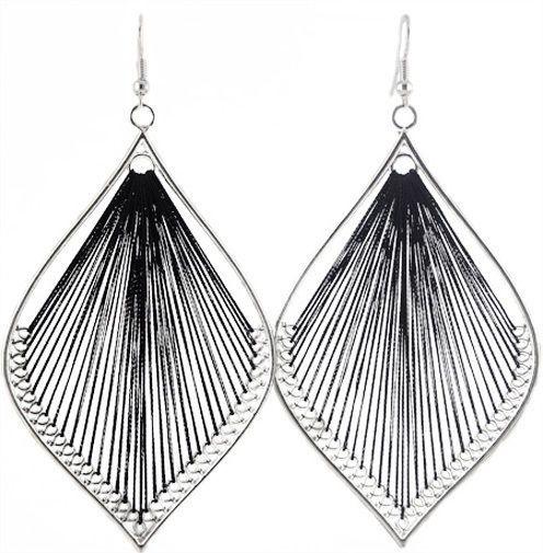 T1368 fashion handcraft charm leaf style cute black thread dangle earrings new #Handmade #DropDangle