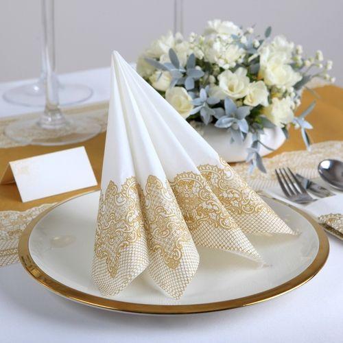 Serwetki Zdobione Zlota Koronka 33cm 20szt 7435742796 Oficjalne Archiwum Allegro Table Decorations Tableware Decor