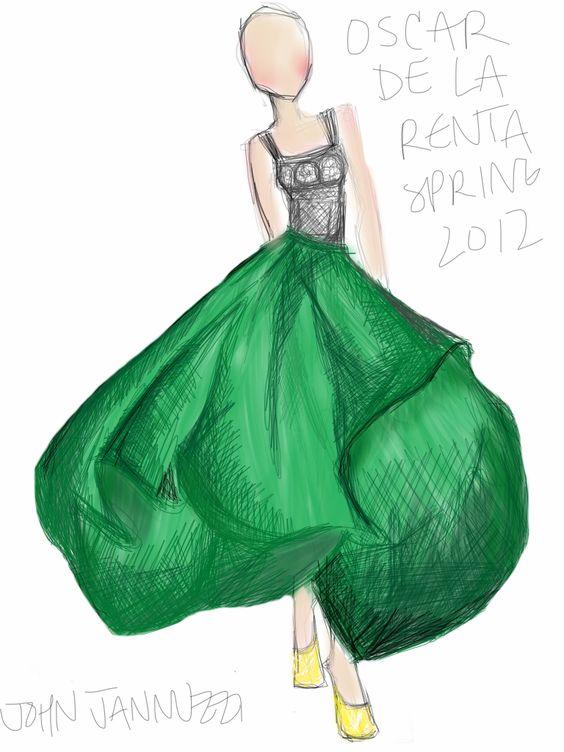 John Jannuzzi's illustrations of Oscar de la Renta runway looks