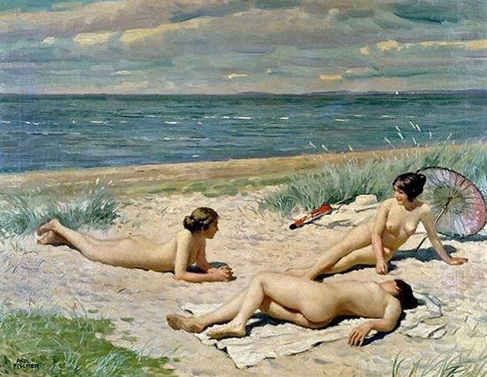 Paul Gustave Fischer (Dannish, 1860-1934) - Nude Bathers on the Beach, 1916: