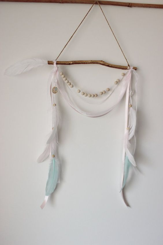 PEPPERMINT PINK stick arrow feather wall hanging by NaytiveNeon