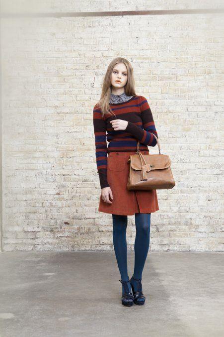 Autumn colours, geeky shirt and stripy jumper, turquoise tights  http://www.cosmopolitan.fr/,accessoires-mode-les-sacs-tendances-de-l-hiver-2011,2178,1465013.asp