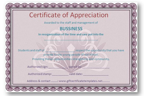 Employee certificate of appreciation template - Certificate - certificate of appreciation template for word