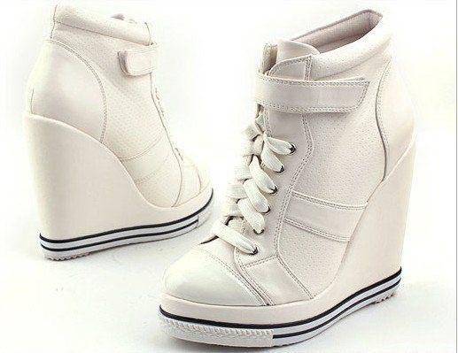 White Wedge Heel Sneakers
