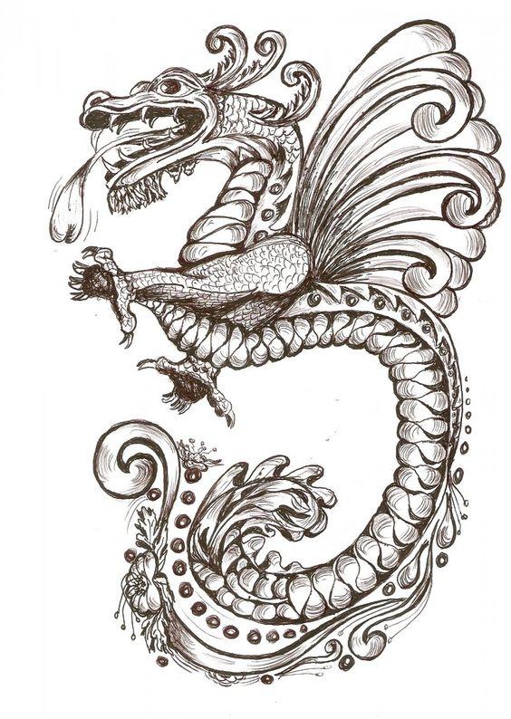dibujos de dragones chinos  Buscar con Google  mitologia