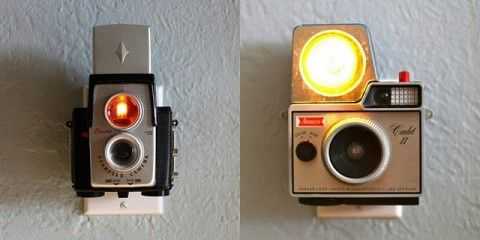 Vintage Cameras into night lights