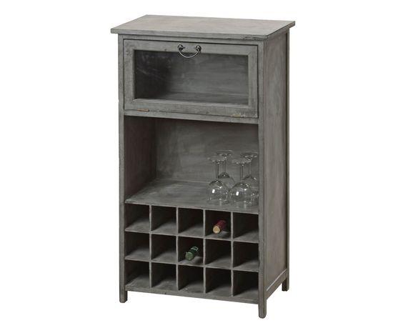 Mueble para vino en madera de abeto gris westwing home for Mueble vinos
