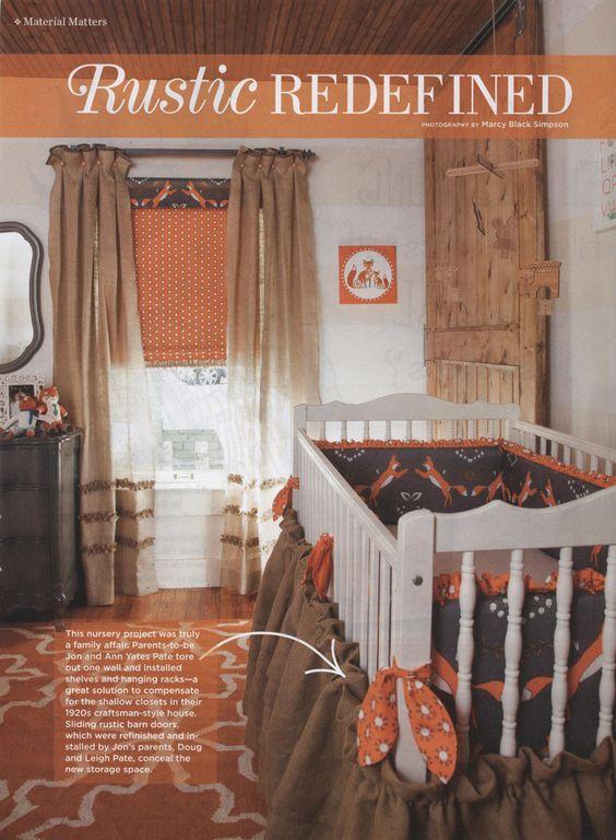Rustic Orange & Gray Nursery with fox theme and burlap curtains