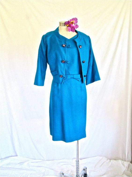 RESERVED, Sz. L-XL, 50s 2pc Dress & Jacket Suit Set, Designs by