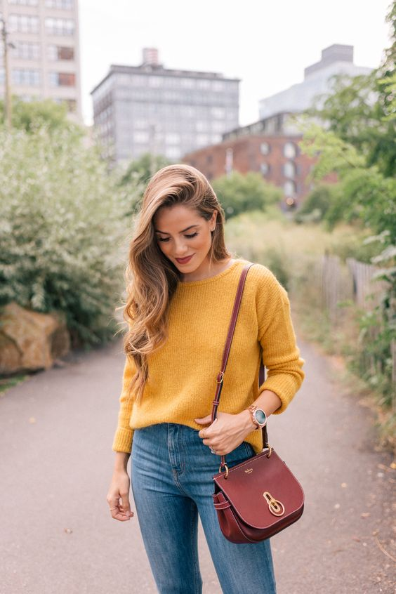 """Gal Meets Glam Sweater Weather - Sezane sweater, Jeans & Booties, Mulberry bag, Chanel lip stain in """"Soft Rose"""" & Michael Kors watch c/o"""