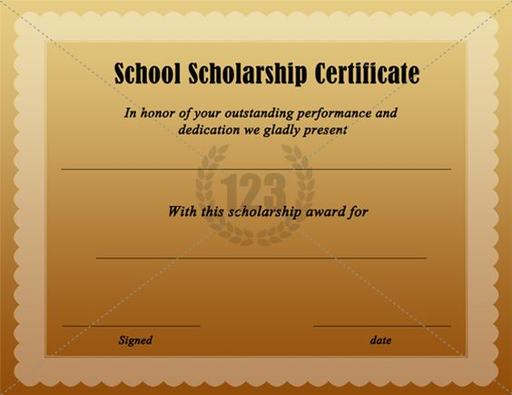 scholarship certificate template - free download school scholarship certificate