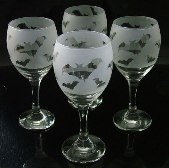 Details about bat gift wine glasses set of 4 pinterest glasses wine and nice - Wine glasses with thick stems ...