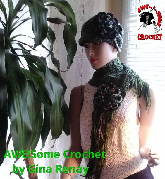 HAT & SCARF SET -- AweSome #Crochet by Gina Renay Designs #hat #oneofakind #pretty #unique #handmade #entrepreneurial My Stitch is like woah....
