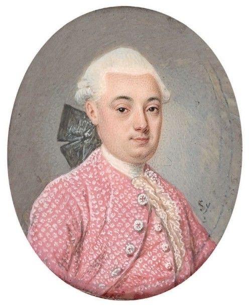 Ecole FRANCAISE vers 1760 Portrait d'homme en habit brodé rose et catogan…: