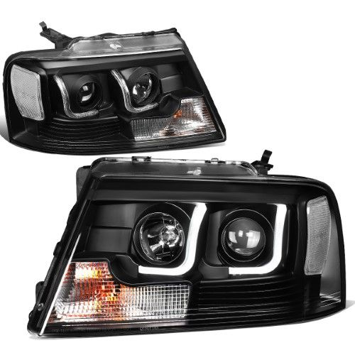 For 2004 2008 Ford F150 Lincoln Mark Lt Pair Black Housing Clear Side Led Drl Projector Headlight Headlamps 05 06 07 Projector Headlights Ford F150 Headlights