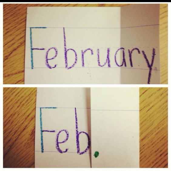 A nifty and easy way to teach abbreviations for days of the week and months of the year! The kiddos made their own.